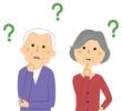 疑問に思う老夫婦  シニアカップル 高齢者