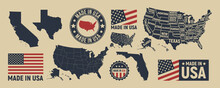 Vector USA Map, Label, Logo. USA Patriotic Set. United States Vintage Typography. Texas, California, Florida Map. United States Of America Blank And Poster Map. Print For T-shirt. Poster For Pub, Bar.