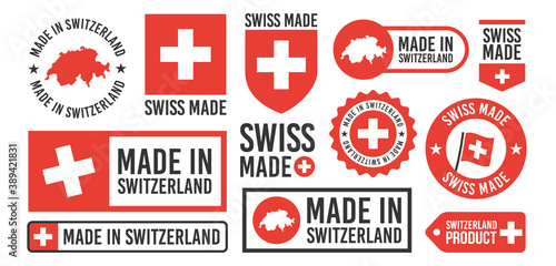 Fotografia Large set of Made in Switzerland labels, signs