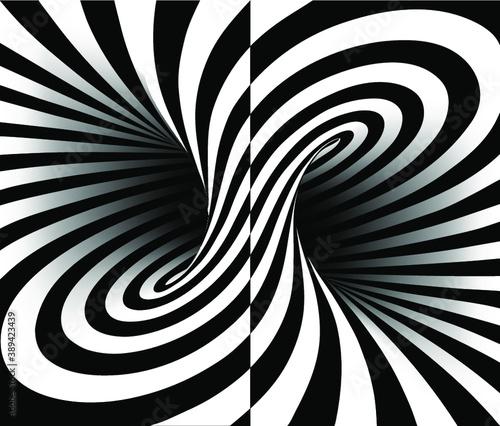 Fototapety, obrazy: Torus inside view split in two with geometrical hypnotic twisting stripes. Vector illustration.