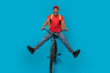 Funny Delivery Delivery Man Riding Bicycle At Studio