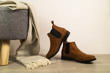 Women Autumn Shoes Or Chelsea Boots On Floor. Autumn Fashion Concept.
