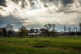 Fototapeta Londyn - niebo, krajobraz, elektrycznośc, energetyczne, przemysł, blękit, chmura, fabryka, przemysłowe, lato, wysoki
