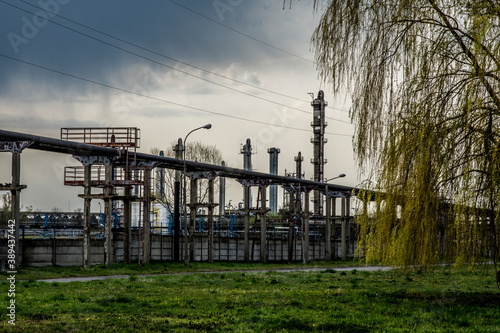 Fototapeta niebo, krajobraz, elektrycznośc, energetyczne, przemysł, blękit, chmura, fabryka, przemysłowe, lato, wysoki obraz