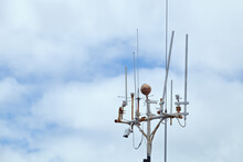 Devices Meteorological Station On The Background Of The Cloudy Sky. Scotland