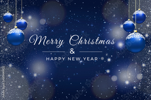 Papel de parede card or banner on a white merry christmas and a happy new year on a blue backgro