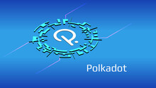 Polkadot DOT Isometric Token Symbol In Digital Circle On Blue Background. Cryptocurrency Icon. Vector Illustration For Website Or Banner.