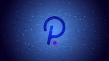 Polkadot DOT Token Symbol On A Blue Polygonal Background. Cryptocurrency Logo Icon. Vector Illustration For Website Or Banner.