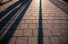 Abstract Shadows Of People Wal...