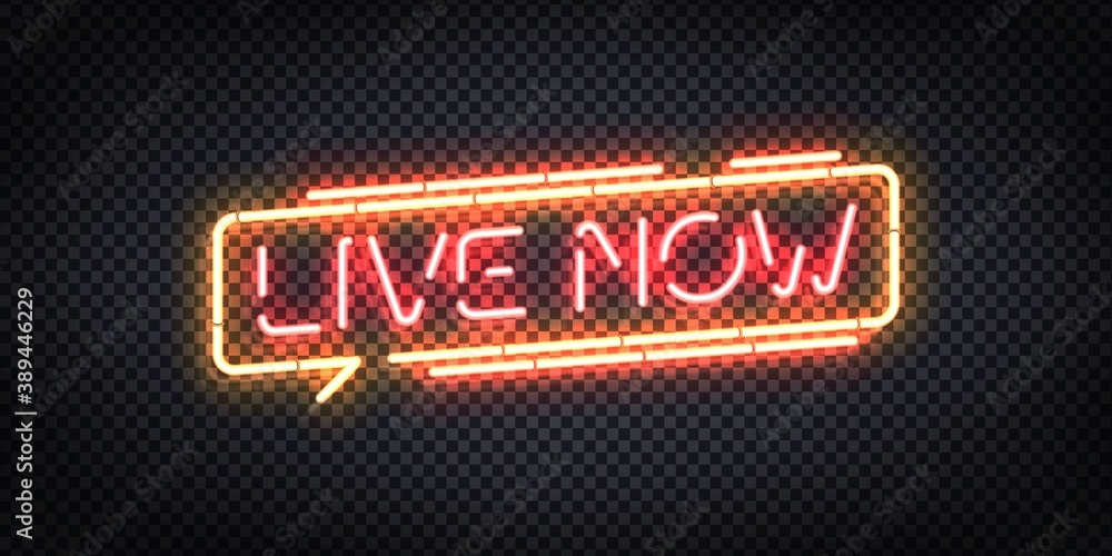 Fototapeta Vector realistic isolated neon sign of Live Now logo. Concept of podcast and live streaming.