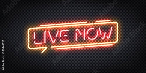 Vector realistic isolated neon sign of Live Now logo. Concept of podcast and live streaming.