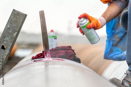 Obraz na plátně View of the dye penetrant inspection, also called liquid penetrate inspection or penetrant testing (PT)