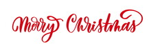 Merry Christmas Red Hand Lettering Inscription For Winter Holiday Design, Calligraphy Vector.