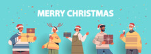 People In Santa Claus Hats Having Fun With Presents Gift Boxes Happy New Year And Merry Christmas Holidays Celebration Concept Horizontal Portrait Vector Illustration