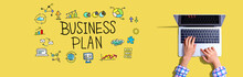 Business Plan With Woman Using...