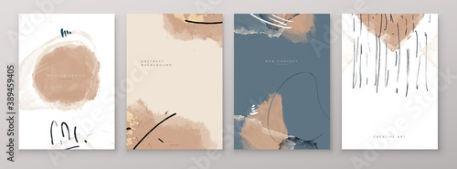Obraz Set of Creative Abstract Hand Painted Illustrations for Postcard, Social Media Banner or Brochure Cover Design Background. Minimalistic Watercolor Painting Artwork. Vector Pattern - fototapety do salonu