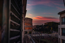 Sunset Over The Colosseum City Of Rome