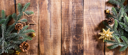 Fototapeta Christmas dark wooden background Top view with copy space. obraz