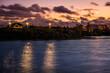 City in a fiery sunset