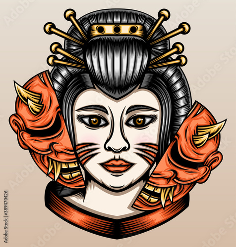 Japanese geisha with hannya mask Fototapet