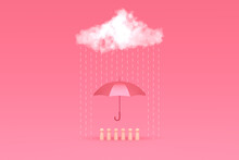 A Group Of Wooden Men Under The Cover Of A Red Umbrella. White Cloud From Which It Rains. Protection Symbol