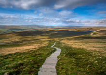 Yorkshire Dales Pathway Of The Three Peaks Trail. England. Landscape Viewpoint Near Summit Of Pen Y Ghent