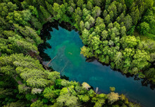 Aerial View Of A Turquoise Pon...