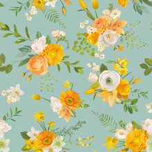 Spring Yellow Flowers Watercolor Pattern, Seamless Floral Summer Background. Vector Trendy Blossom Texture