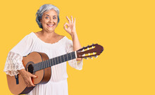 Senior Woman With Gray Hair Playing Classical Guitar Doing Ok Sign With Fingers, Smiling Friendly Gesturing Excellent Symbol
