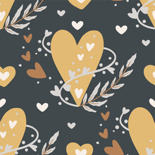 Sacred Heart And Leaves Seamless Hand Drawn Pattern. Boho Valentine Illustration. Love Fashion Graphic Design.