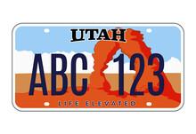 Utah License Number Plate. Vector Usa Car Plate Retro Sign, American Utah Metal Symbol