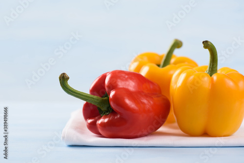 Tela Fresh organic sweet pepper on colorful background