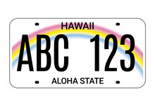 Car License Hawaii Plate. Aloha State Vector License Plate Usa Template