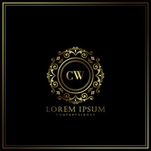 CW Initial Letter Luxury Logo Template In Vector Art For Restaurant, Royalty, Boutique, Cafe, Hotel, Heraldic, Jewelry, Fashion And Other Vector Illustration