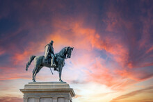Monument To Garibaldi Statue Of Giuseppe Garibaldi An Italian General Riding A Horse In Bronze In Italy Rome. Dramatic Pink Skies.