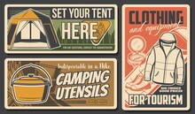 Camping And Hiking Travel Tourism Sport And Outdoor Adventure, Vector Posters. Mountain Camp And Nature Trekking Club Expedition, Camping Utensils, Equipment And Tourist Clothing Shop