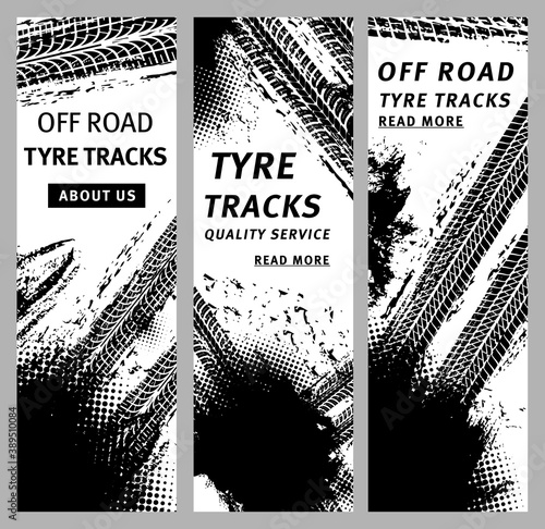 Tire prints, car tyre tracks with grunge stained vector marks and spots. Auto service or bike race, vehicle, transportation. Dirty wheels trace monochrome pattern, graphic textured design banners set