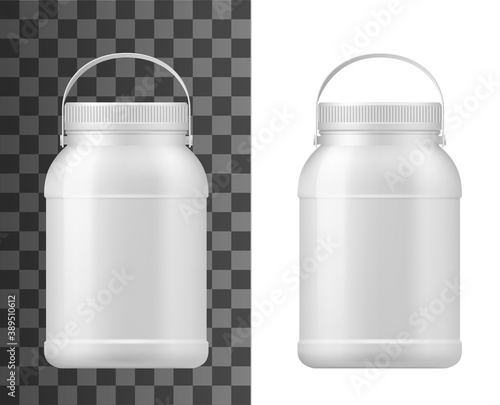 Fotografie, Obraz Plastic jar isolated vector big mayonnaise package, conserved container, bottle with lid and handle
