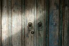 Old Rustic Wooden Door With Lo...