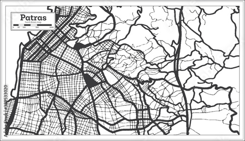 Photo Patras Greece City Map in Black and White Color in Retro Style