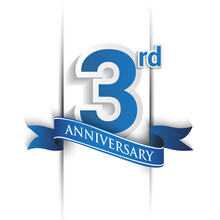 3rd Years Anniversary Logo, Blue Colored Vector Design On White Background. Template For Poster Or Brochure And Invitation Card.