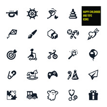 Happy Childhood And Toys Related Icons