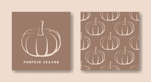 Pumpkin Season Card And Seamle...