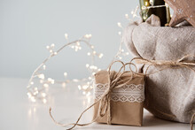 Christmas Zero Waste. Eco Friendly Packaging Gift In Kraft Paper And Lace