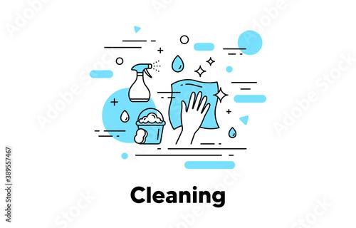 Cuadros en Lienzo Cleaning napkin line icon