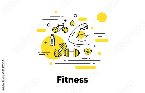Fitness strong arm line icon Fotobehang