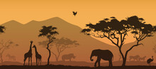 Horizontal Seamless Background With Africa Nature. All Animals And Trees Are Isolated - You Can Clean And Move Them. Vector Illustration
