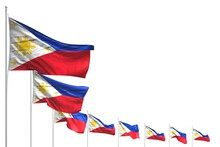 Wonderful Many Philippines Flags Placed Diagonal Isolated On White With Space For Content - Any Occasion Flag 3d Illustration..