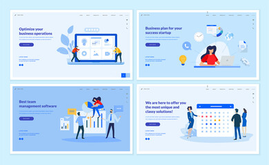 Obraz na płótnie Canvas Web page design templates collection of business plan, team management, optimization, news and events. Vector illustration concepts for website and mobile website development.