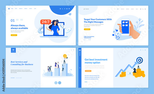 Obraz na plátně Web page design templates collection of online support, investment, business consulting, customer relations and communication